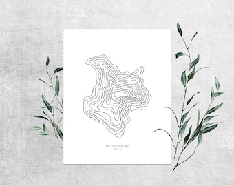 Mount Pisgah Print | 11 x 14 | Appalachian Mountains | Asheville | North Carolina | Minimal | Line Drawing | Blue Ridge Mountains | Print