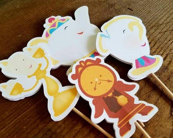 Belle & Friends Party - Set of 12 Belle's Friends Double Sided Assorted Cupcake Toppers by The Birthday House