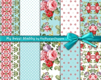 """Floral digital paper : """"My Sweet Shabby"""" shabby chic digital paper for scrapbooking, decoupage, invitations, cards and other crafts"""