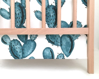 Crib Skirt Teal Paddle Cactus. Baby Bedding. Crib Bedding. Crib Skirt Boy. Baby Boy Nursery. Cactus Crib Skirt.