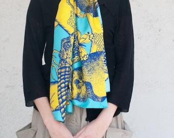Twill of silk's scarf, mixed drawn animals (deer, rabbit, marmot, mouflon, butterflies), Yellow and Blue