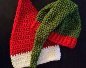 Christmas Hats/Santa Hats/Elf Hats/Christmas Crochet Hats/Santa Crochet Hats/Elf Crochet Hats