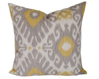 Yellow pillow cover, Gray throw pillows, Ikat pillow, Cushion cover, Couch cushions, Decorative pillows, Shams, Lumbar, 11 sizes available