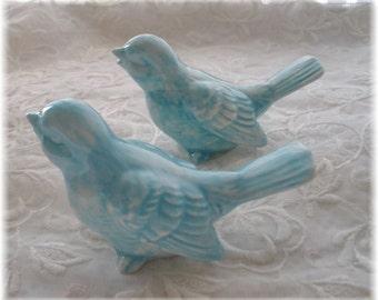 Wedding Cake Vintage Birds Ceramic in Aqua  Wedding Cake toppers Home Decor