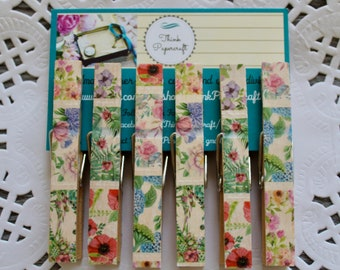 6 wooden clothes peg magnet set, floral garden with beautiful flowers including poppies and hydrangeas, clothespin house-warming gift set