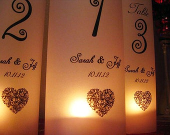 Wedding Luminaries, Wedding Table Number Luminary Personalized Heart, Set of 12..
