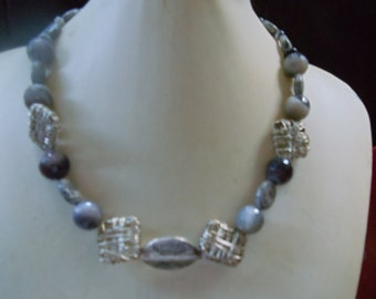 Agate black/grey with silver nest necklace statement jewelry