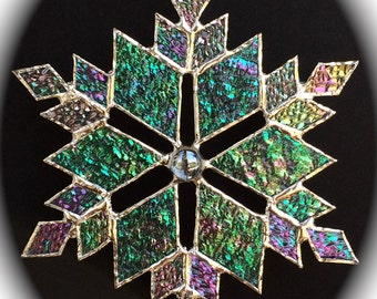 stained glass snowflake suncatcher (design 10B)