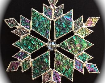 stained glass snowflake suncatcher (design 10B)