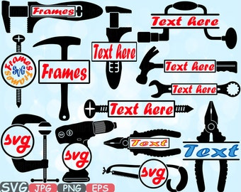 Split & Circle Mechanic Tools Silhouette SVG Cutting Files Freame frames clipart Handyman SVG hammer tool designs pliers Tools bundle -617S