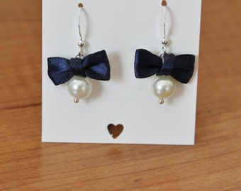 Ivory Pearl and Navy Blue Bow Earrings