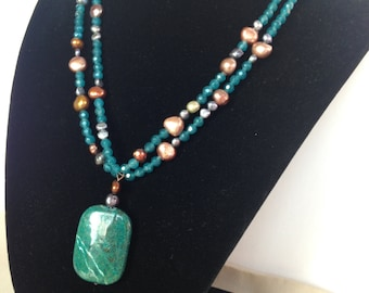 Stone Pendant on Double Strand of Faceted Stones and Freshwater Pearls