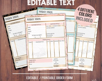 Order Form Template Printable, Editable Order Form, Business Planner