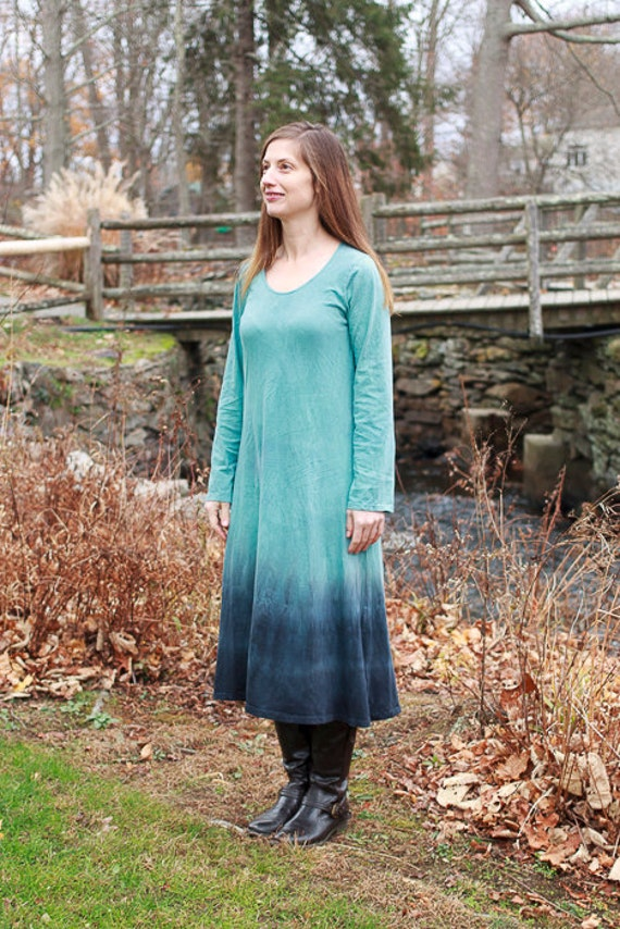 Mountain Range Dress, American Grown Organic Cotton Jersey Dress, Dip Dyed Eco Friendly A-line Dress