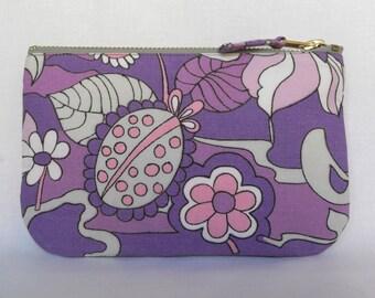 SALE** Vintage Make Up Bag, Zip Purse, 1970's Fabric Lilac Fantasy Pink Purple Cotton, Ipod & Earphones Case