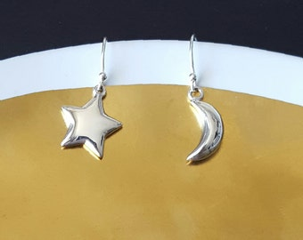 Star and Moon Earrings, Sterling Silver, Puffy Star, Puffy Moon, Kids Jewelry, Birthday Gift, Gift for Her, Girl Gift