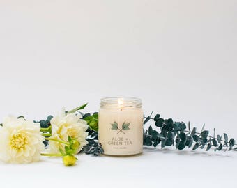Aloe + Green Tea Soy Candle Jar - 9 oz  - all natural, eco-friendly 100% soy wax candle