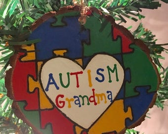 Autism Awareness Ornament - Wood Burned Ornament - Hand Painted Ornament - Christmas Ornament - Puzzle Ornament - Teacher Gift - Wood Slice