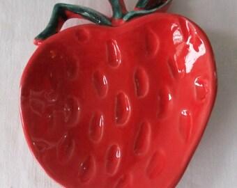 Vintage Ceramic Red Strawberry Dish USA LS 85 Relish Dip Candy Retro