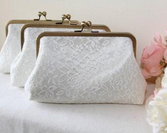 Personalize Lace clutch / Bridal Clutch / Bridesmaids clutch / Express shipping / Dinner clutch / Bag / Purse / Pouch / Custom / set of