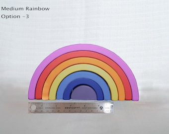 Wooden Toy Rainbow, Stacking toy, Waldorf Toddler Toy, Rainbow Stacker, coloured rainbow, medium size