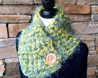 Green Neck Warmer, Buttoned Scarf, Crochet Scarf, Knitted Neck Warmer