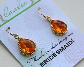Gold Burnt Orange Earrings Tangerine Wedding Jewelry Bridesmaid Earrings Bridesmaid Gift Bridal Jewelry Personalized Note Tangerine Jewelry