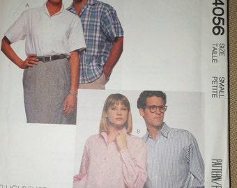 McCall's 4056, mens, womens,teens,  misses shirt, UNCUT sewing pattern, size varies