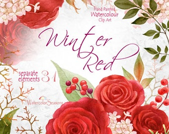 Hand painted Red Roses Watercolor Clip Art Collection Flower elements Watercolour Wedding Invitation Greeting Card PNG Wall Art Scrapbooking