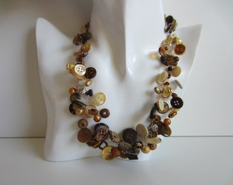 Chain, button chain, necklace with beads and knobs, Perlonkette, chain of statements, necklace, necklace, chain