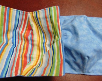 Microwave Bowl Holder/ Cozy -- Country Blue w/ Multi Color Stripes (1 Set of 2) 11