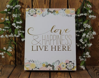 Love & Happiness Live Here,Inspirational Quote,Framed Quotes,Framed Wall Art,Birthday Gift Her,Farmhouse Decor,Wood Signs,Rustic Wood Sign