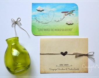 Wedding Love Story Participation-Wedding invitation-Original hand made ticket