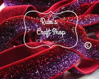 Hot Pink and Red Glitter FOE 5/8'-FOE Glitter-Elastic Hair Tie-DIY-Baby Headband-Gift-Elastic By The Yard-Craft Supplies-Elastic Ties-