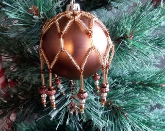 Hand beaded shatterproof Christmas ornament--Shatter proof Christmas ornament