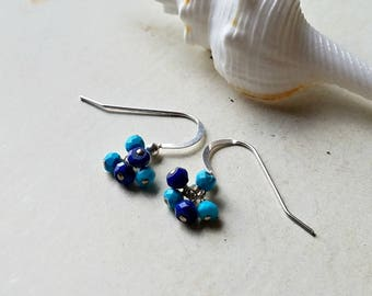 Small Lapis Cluster Earrings, Turquoise Lapis Gemstone Cluster, Tiny Sleeping Beauty Turquoise Earrings