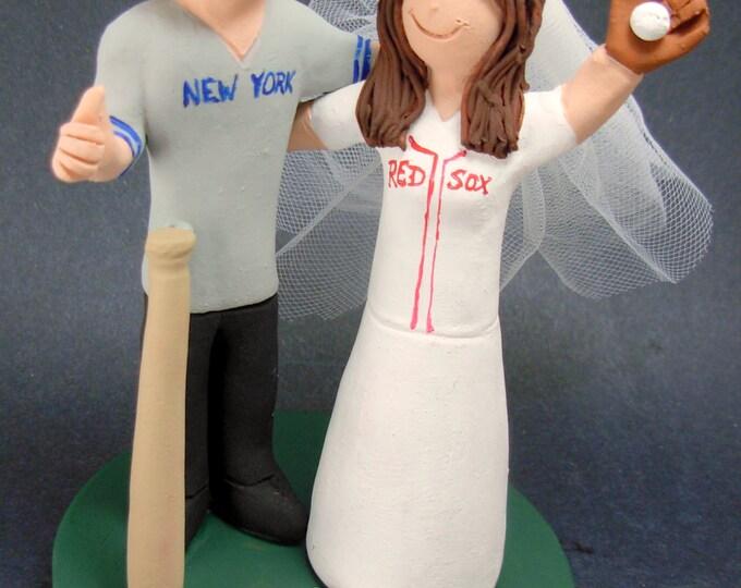 New York Yankee's Baseball Wedding Cake Topper, Red Sox Wedding Cake Topper, Baseball Wedding Cake Topper, Fenway Park Wedding Cake Topper