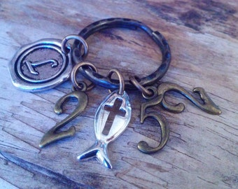 Christian keyring-And Jesus grew in wisdom and stature, and in favor with God and man-Luke 2:52-scripture keyring
