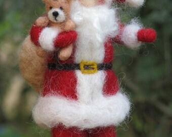Santa Claus, Christmas decoration, Needle felted, Xmass, Waldorf inspired