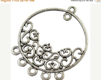 25% off SALE Antiqued Silver Chandelier Connectors, Silver Earring Findings,  Silver 35x29mm Metal Connectors, Flower