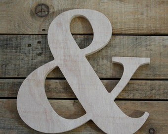 Wooden letter, freestanding wooden letter, shelf decor,Ampersand wood letter, & wood letter, wall decor, home decor // GIFT