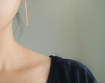 Gold Filled Bar Drop Earrings, Long Rectangle Earrings, Geometric Earrings, Gold Stick Earrings, Long Dangled Gold Earrings