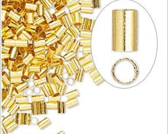 Gold-Plated Brass Crimp Tubes 3x2mm x 1.4mm You pick Quantity