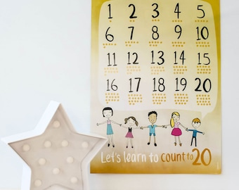SALE 25% off // Count to 20 Poster - counting, playroom decor, nursery, kids room, kids wall art, A3