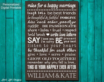 Rules for a Happy Marriage Sign. Custom Wedding Gift. Personalized Wedding Gift. Unique Wedding Gift. Newlywed Gift. Couple Anniversary Gift