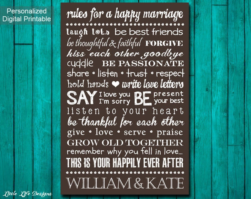 Rules For A Happy Marriage Sign Custom Wedding Gift