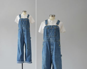 denim workwear overalls / vintage union made blue jean overalls / womens S - M