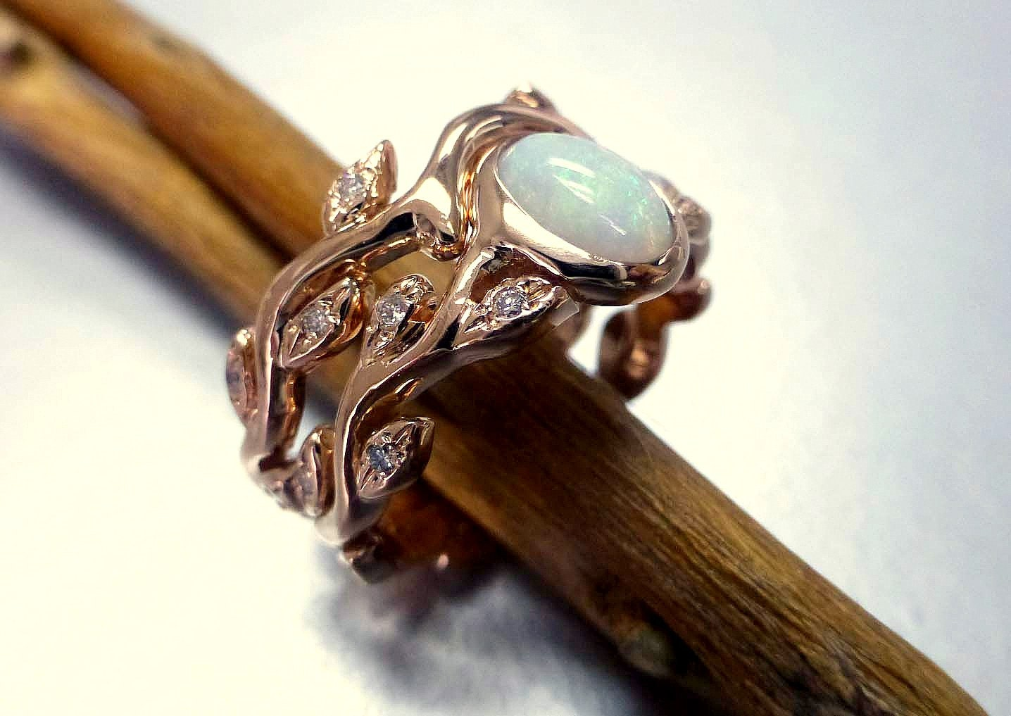 Engagement ring with opal and diamonds Opal ring set Leaf