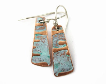 Copper Earrings, Short Tapered Dangle, Textured Copper, Light Blue Color, Sideways Drip Pattern