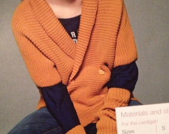 Ladies Knitted Ribbed Cardigan And Mittens Knitting Pattern